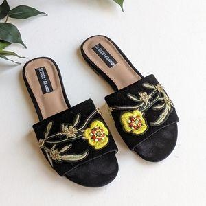 Lord & Taylor Fleur Velvet Jeweled Slide Sandals